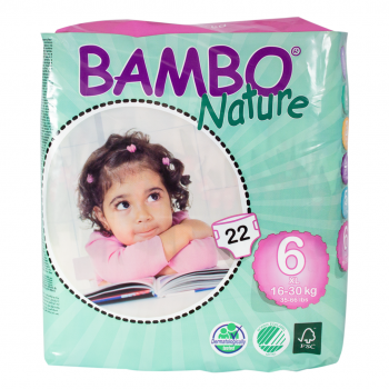 Bambo Nature Eco Disposable Nappies Size 6: 16-30 kgs 22's (extra large)