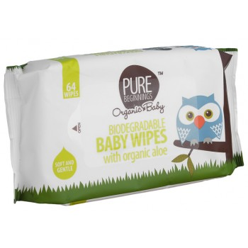 Biodegradable Baby Wipes (Pure Beginnings) with organic aloe 64's