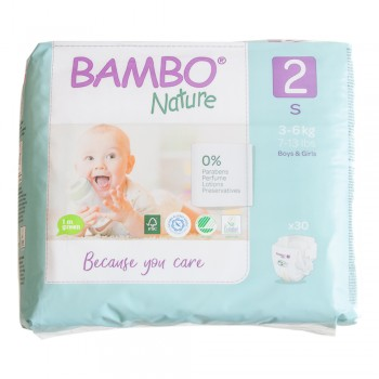 Bambo Nature Eco Disposable Nappies Size 2: 3-6 kg 30's (mini)