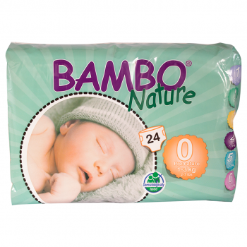 Bambo Nature Eco Disposable Nappies Size 0: 1-3 kg's 24's (premature)