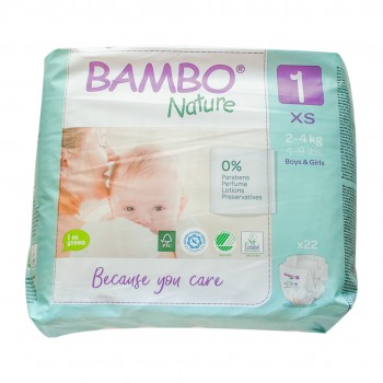 Bambo Nature Eco Disposable Nappies Size 1:  2-4 kg's 22's (newborn baby)