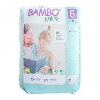 Bambo Nature Eco Disposable Nappies Size 6: 16-30 kgs 18's (extra large)