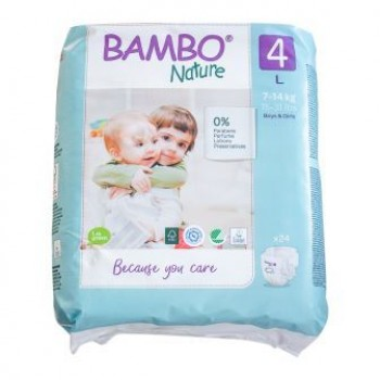 Bambo Nature Eco Disposable Nappies Size 4:  7-14 kg's 24's (maxi)
